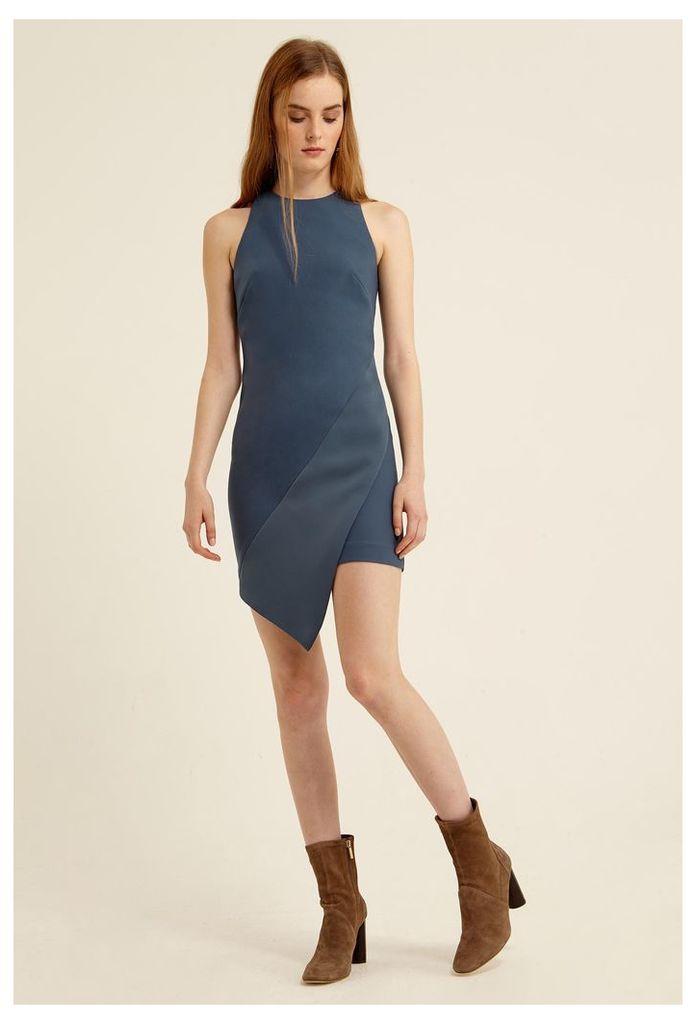 Peyton Aysmmetric Mini Dress - Slate Blue