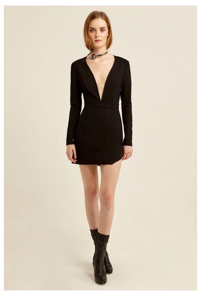 Milla Deep Plunge Mini Dress - Black
