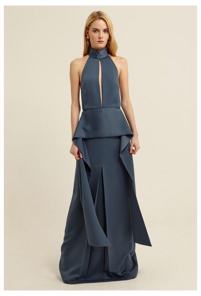 Stasia Halterneck Maxi Dress - Slate Blue