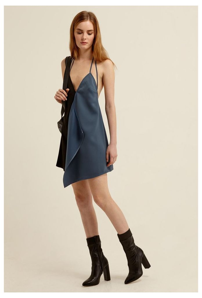 Violet Slip Mini Dress - Slate Blue / Black