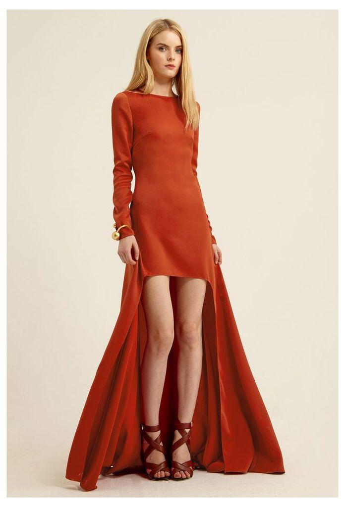 Crystaline Asymmetric Maxi Dress - Rust