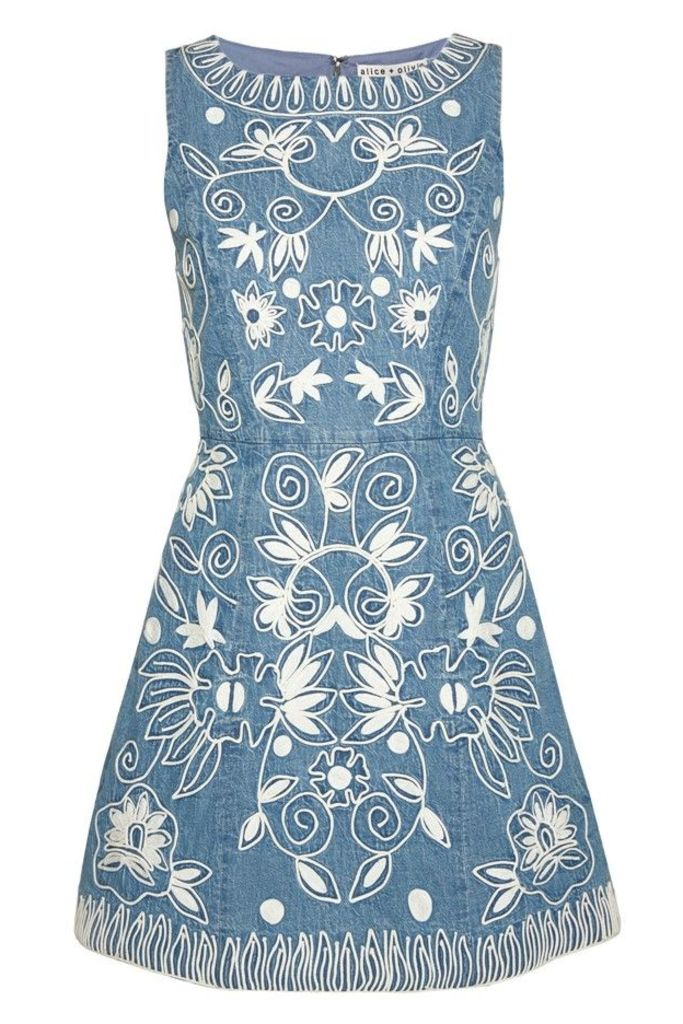 Lindsey Embroidered Pouf Dress