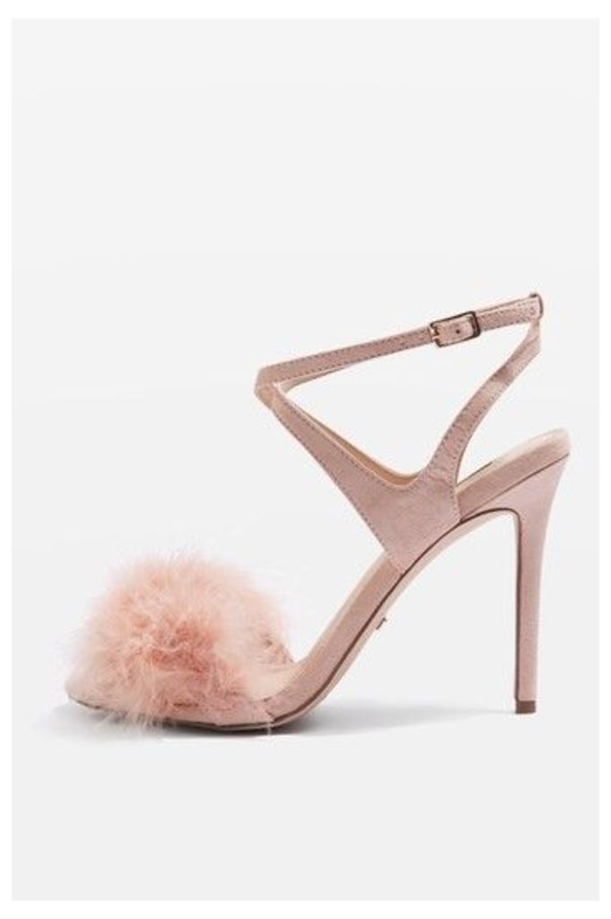 Womens REINE Feather Heeled Sandals - Nude, Nude