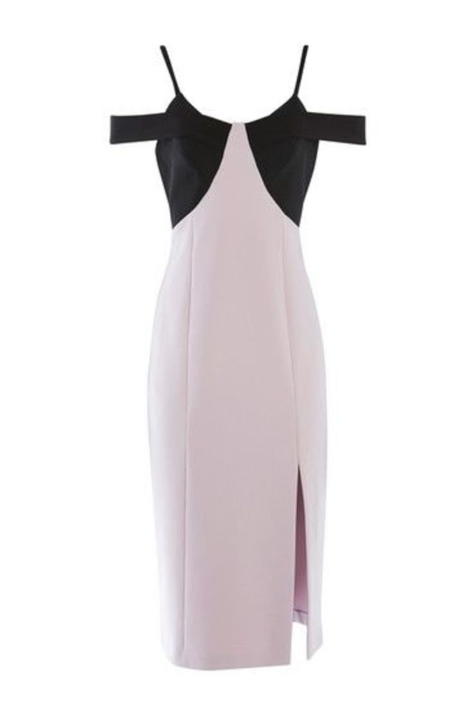 Womens PETITE Colour Block Midi Dress - Dusty Pink, Dusty Pink