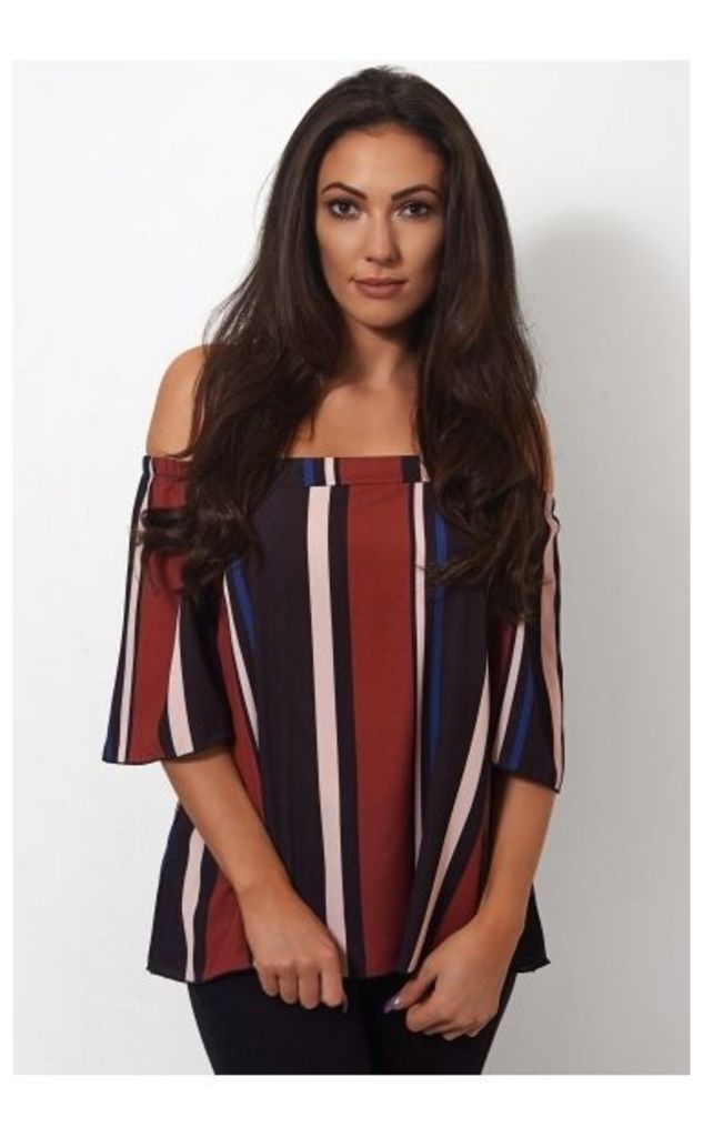 Burgundy Stripe Bardot Top