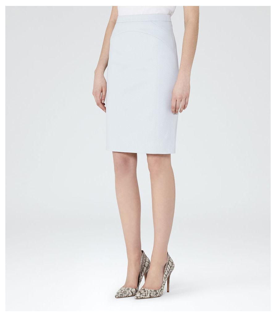 REISS Harloe Skirt - Womens Textured Pencil Skirt in Blue