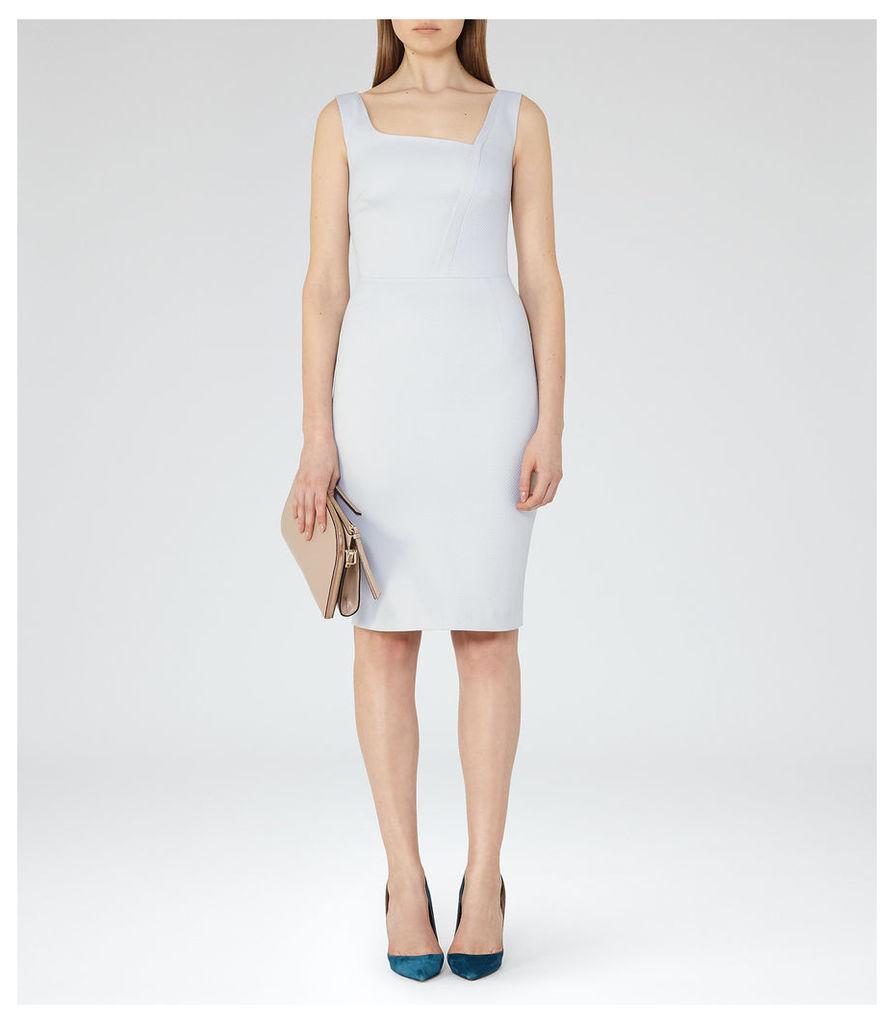 REISS Harloe Dress - Womens Textured Bodycon Dress in Blue