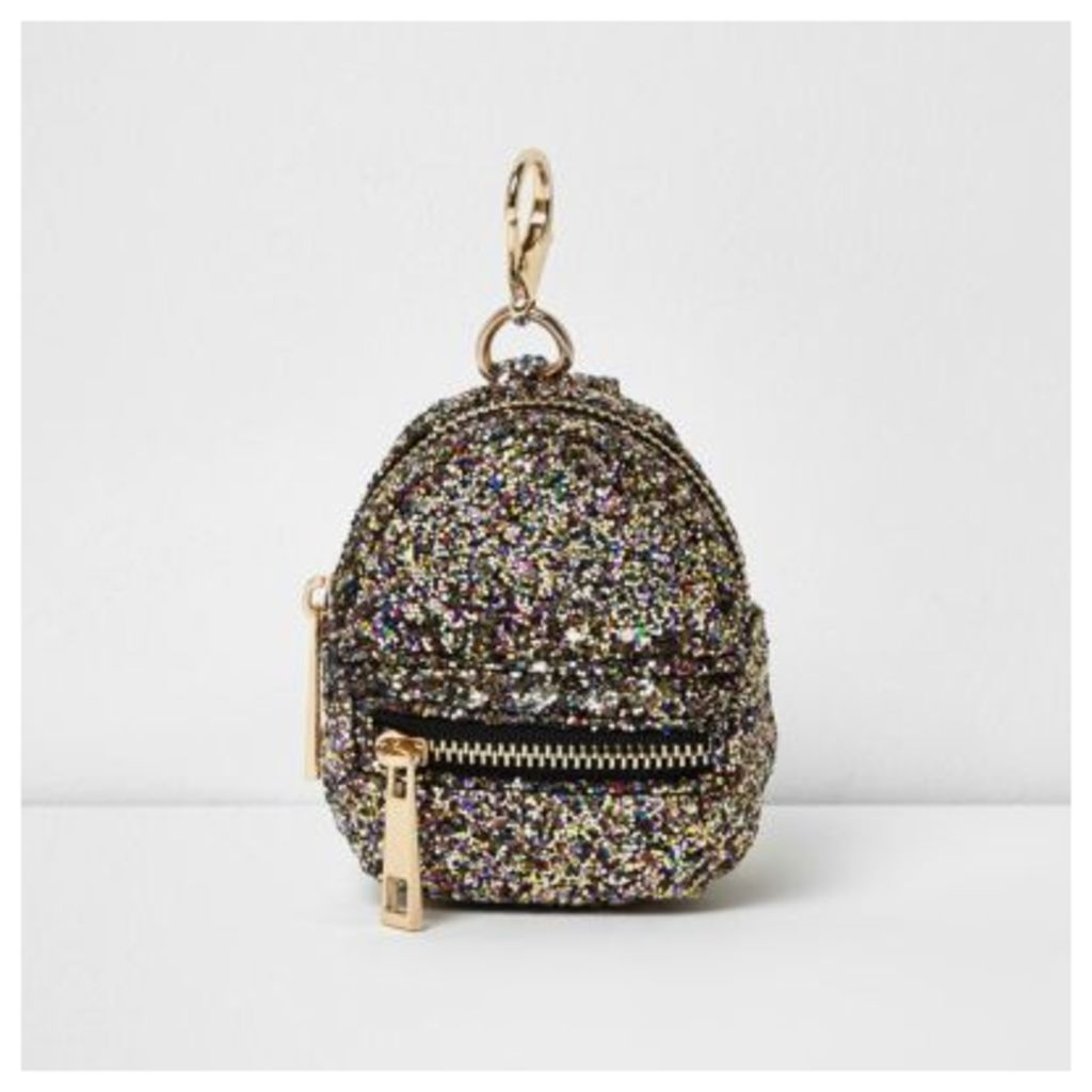 River Island Womens Gold glitter mini backpack keyring
