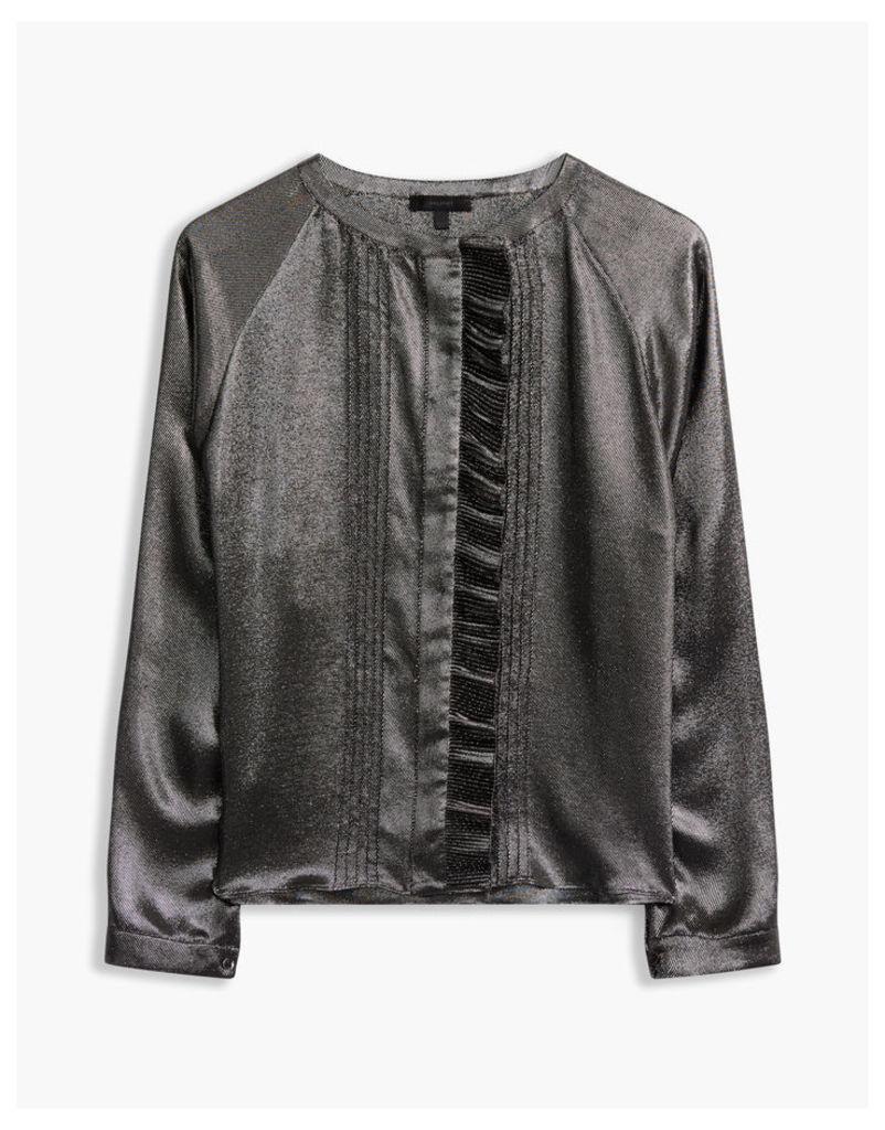 Belstaff Elm Ruffle Shirt Black/Silver