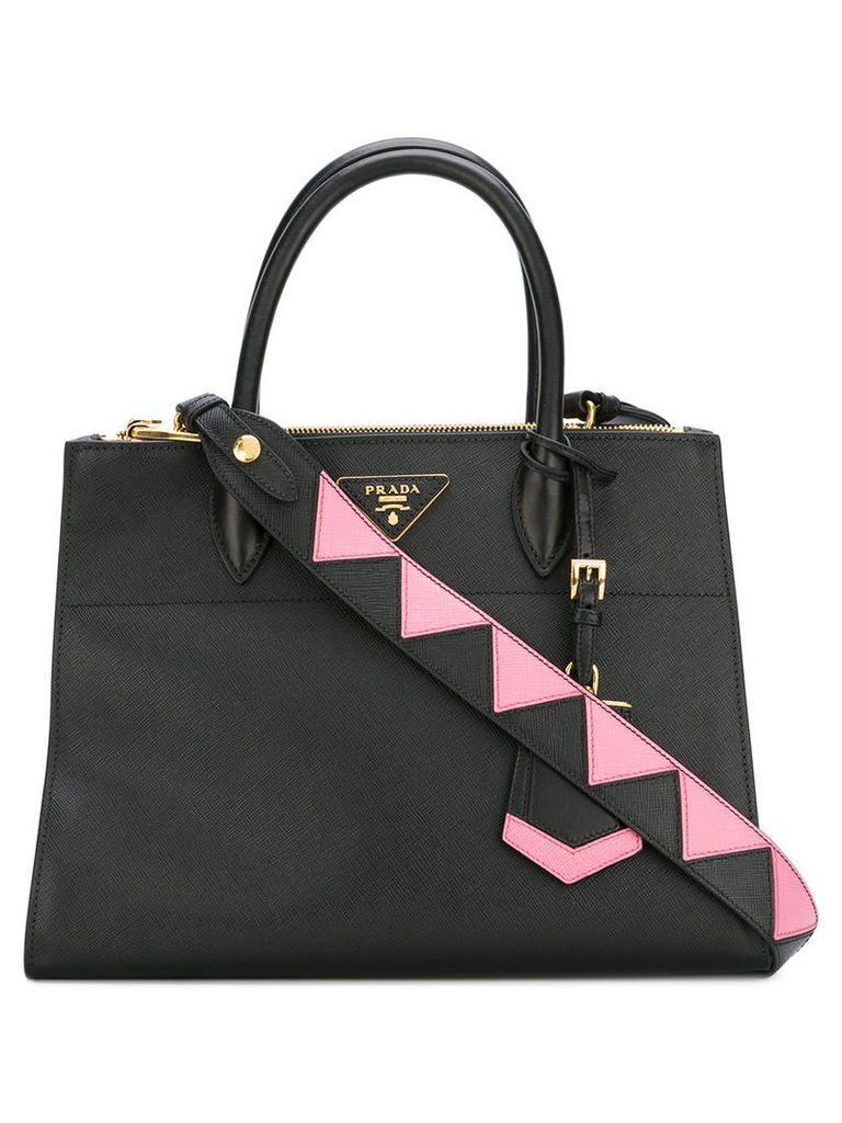 Prada - abstract detail classic tote bag - women - Calf Leather - One Size, Women's, Black