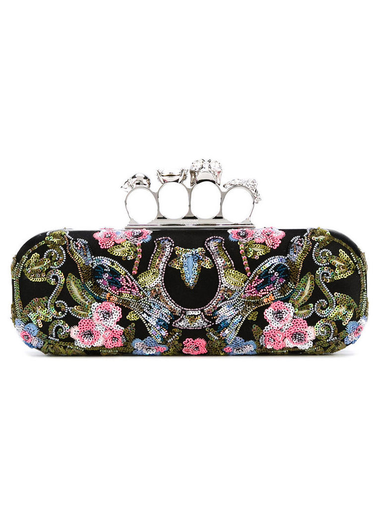 Alexander McQueen - Knuckle long box clutch - women - PVC/Satin/metal (Grey)/glass - One Size, Women's