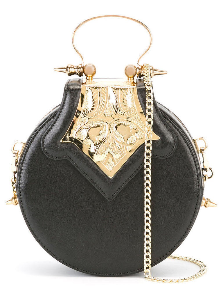 Okhtein - mini Dome clutch bag - women - Leather/Brass - One Size, Women's, Black