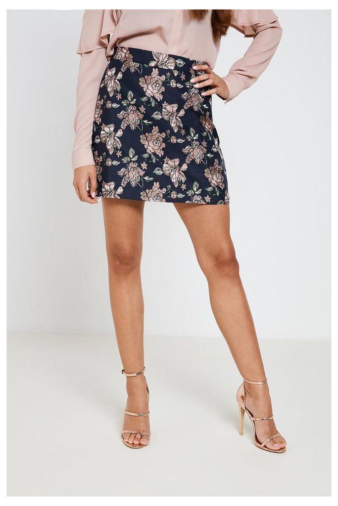 Fashion Union Floral Print Mini Skirt - Blue