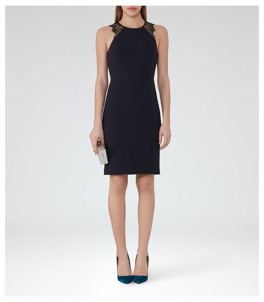 REISS Saturn - Womens Lace Detail Dress in Blue
