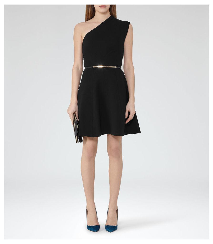 REISS Keria - Womens One-shoulder Dress in Black