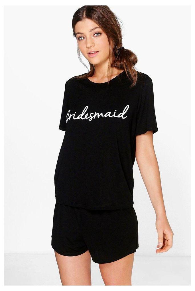 Bridesmaid Bridal T-shirt And Shorts PJ Set - black
