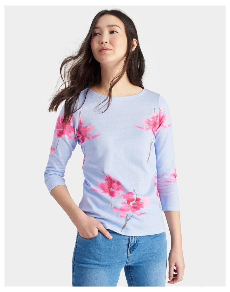 Sky Blue Orchid Harbour print Jersey Top  Size 16 | Joules UK
