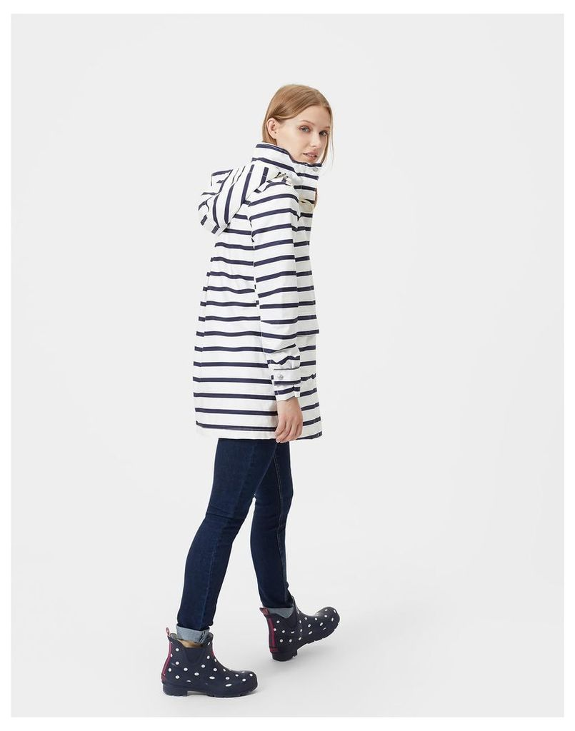 French Navy Stripe Haven Waterproof Jacket  Size 12 | Joules UK