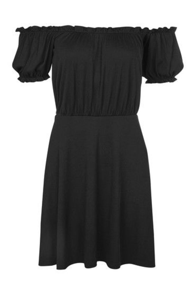 Womens Bardot Skater Dress - Black, Black