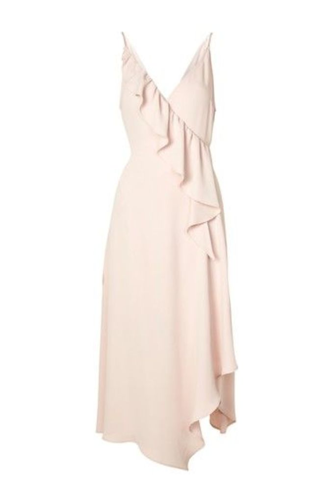 Womens Ruffle Wrap Slip Dress - Nude, Nude