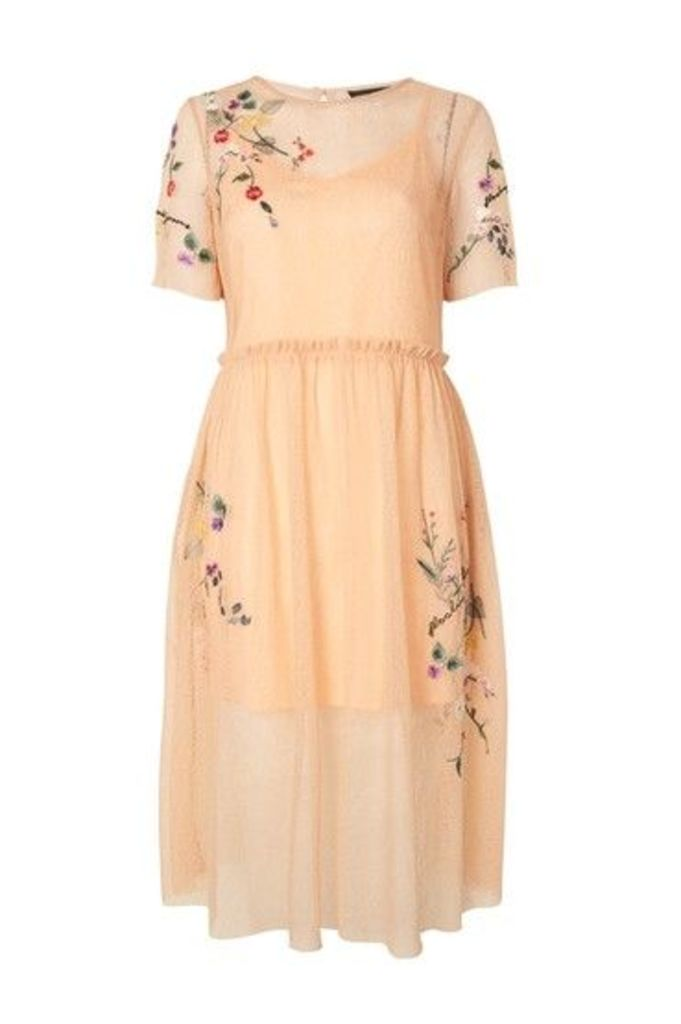 Womens Embroidered Mesh Midi Dress - Peach, Peach