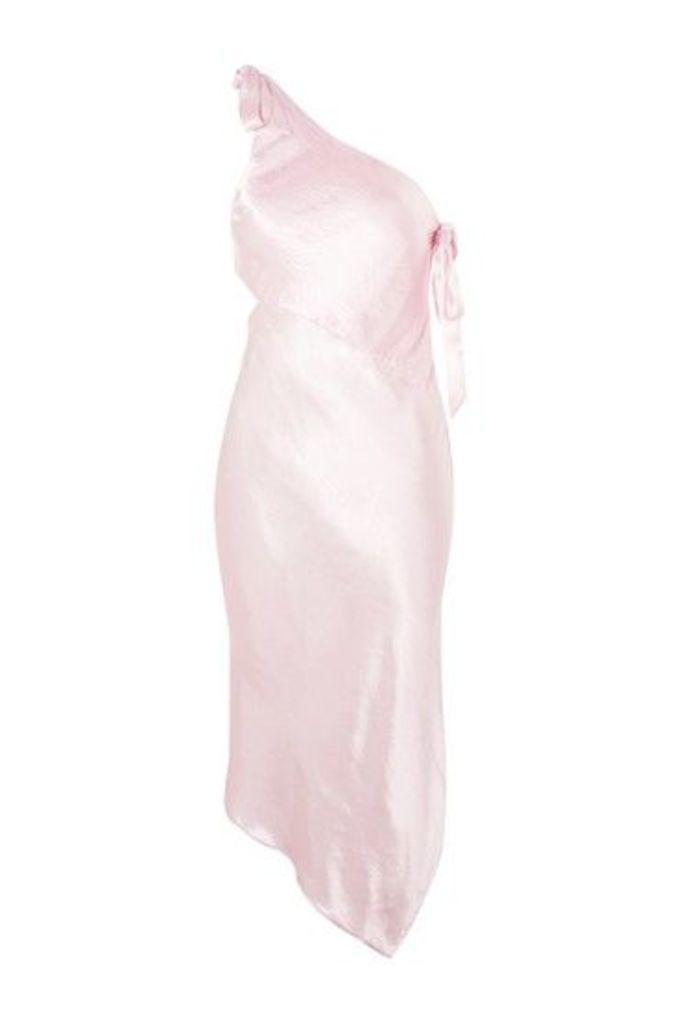Womens Satin One Shoulder Dress - Pink, Pink
