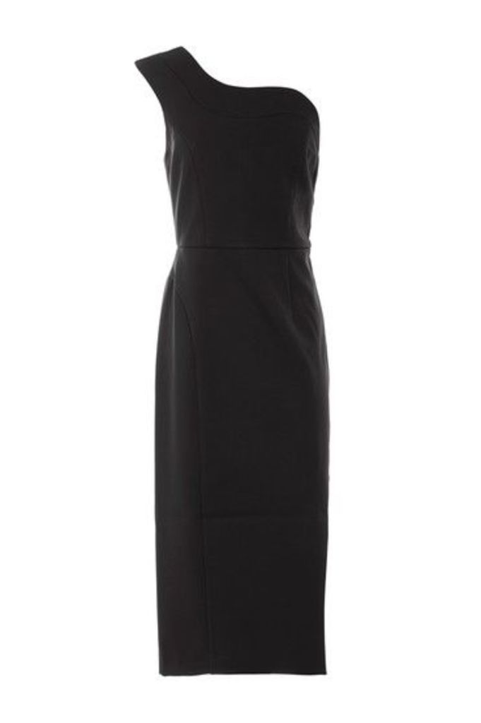 Womens Scallop One Shoulder Dress - Black, Black