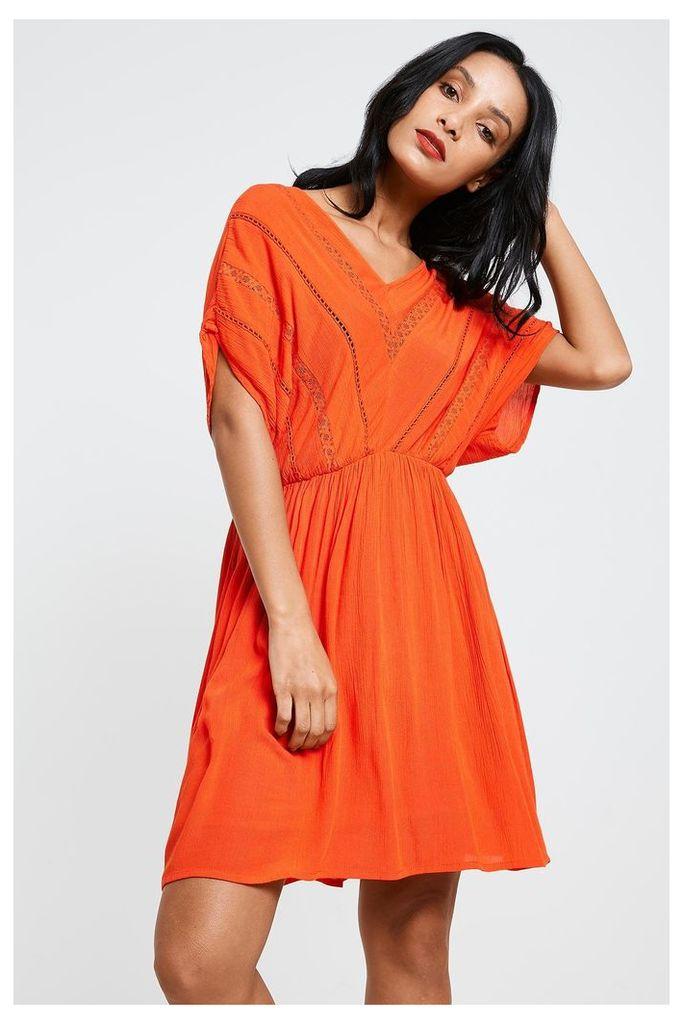 Vero Moda Crinkla Short Sleeve Dress - Orange