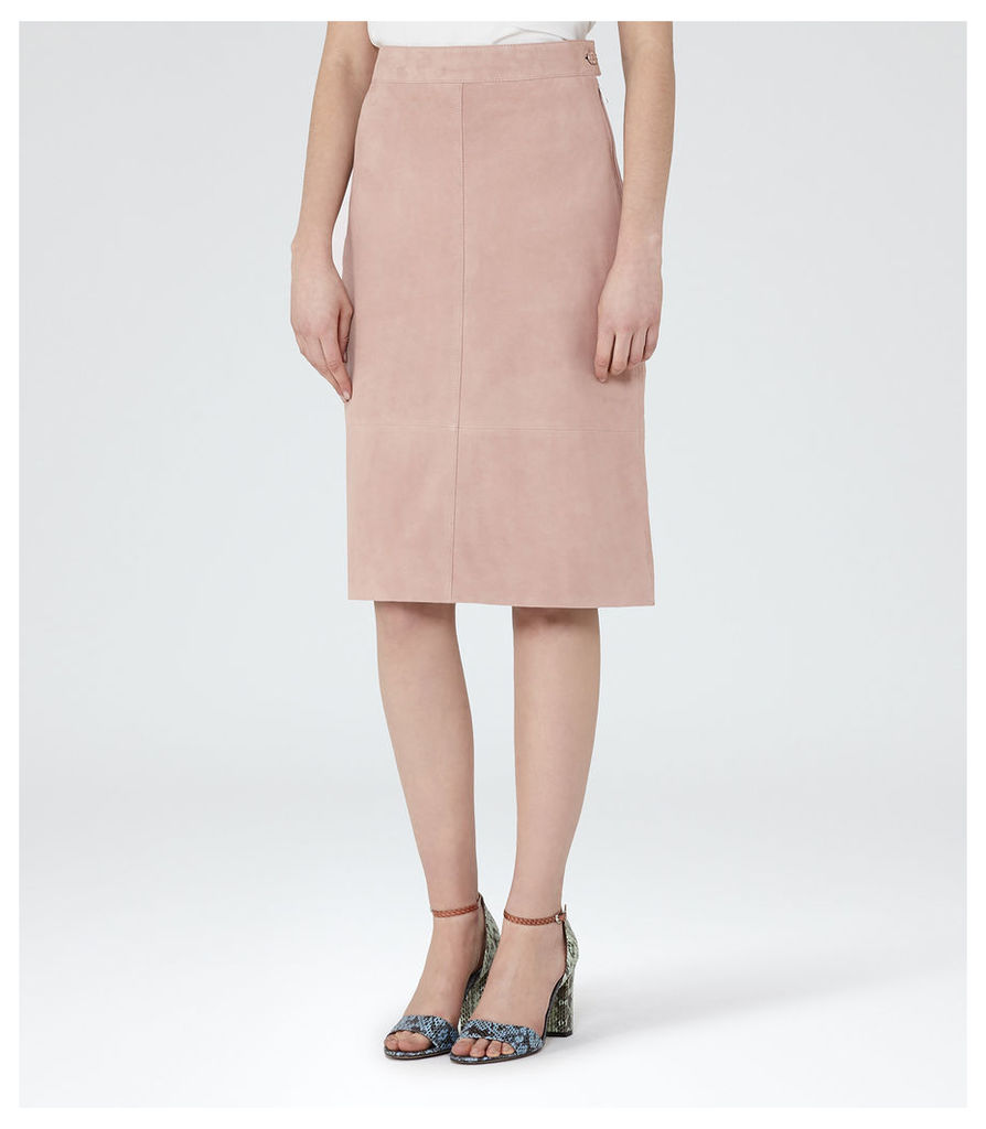 REISS Tess - Womens Suede A-line Pencil Skirt in Pink