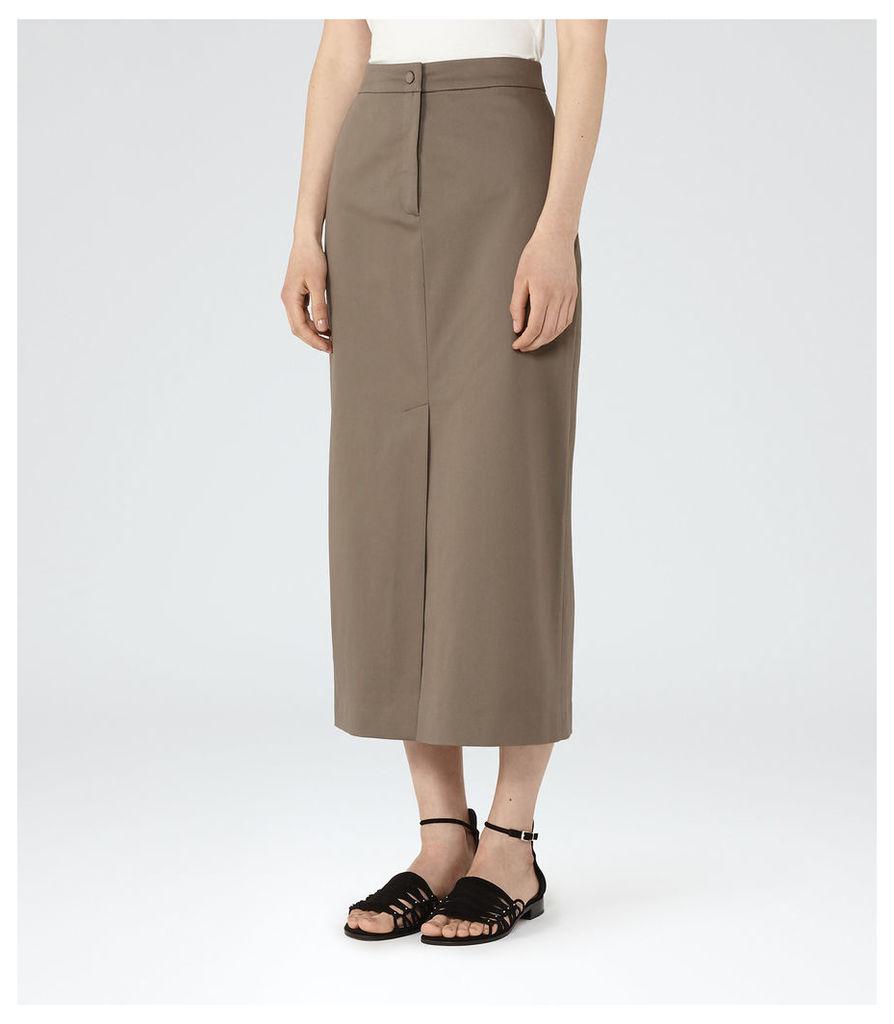 REISS Fresia - Womens Midi Skirt in Brown