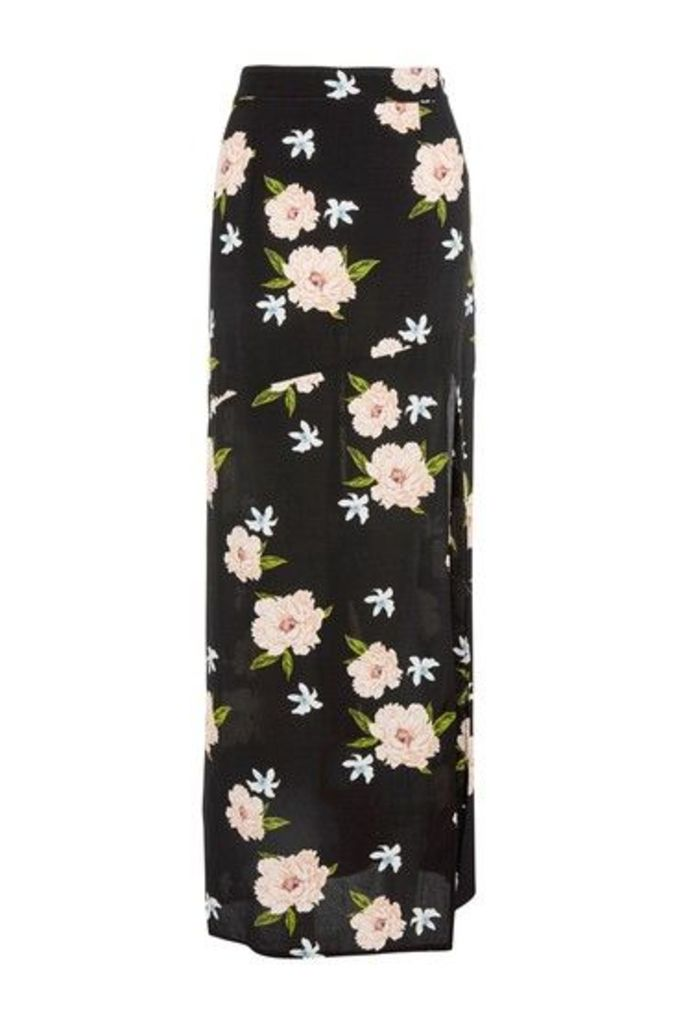 Womens Black Split Floral Print Maxi Skirt - Black, Black