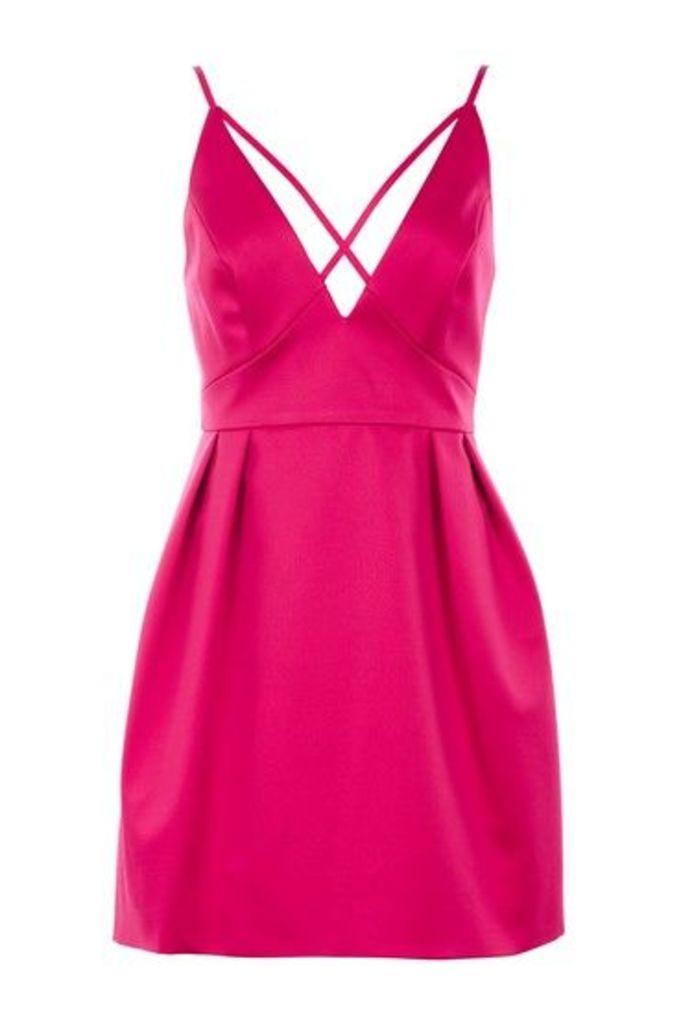 Womens Cross Front Mini Prom Dress - Rose, Rose