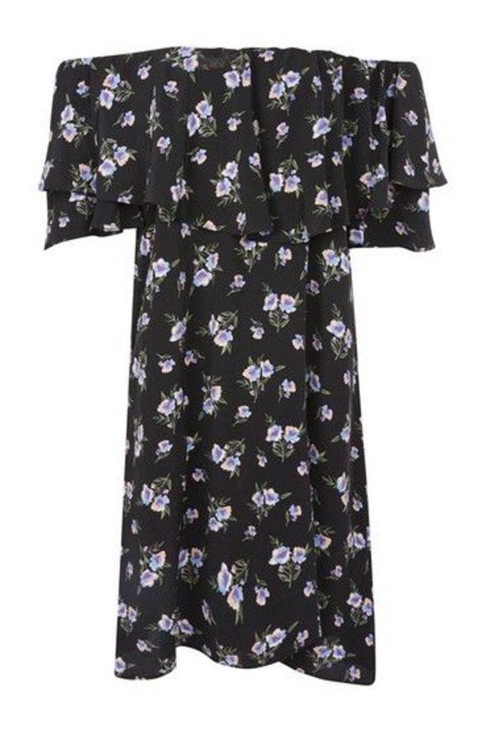 Womens Lilac Berry Bardot Dress - Black, Black