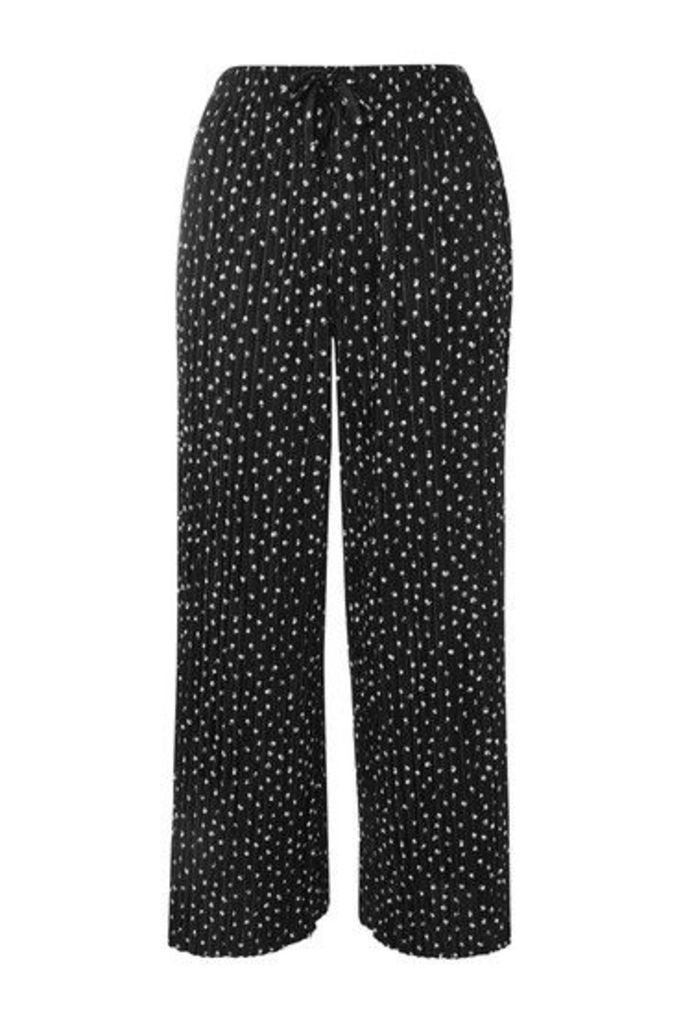 Womens Belted Spot Plisse Trousers - Black, Black