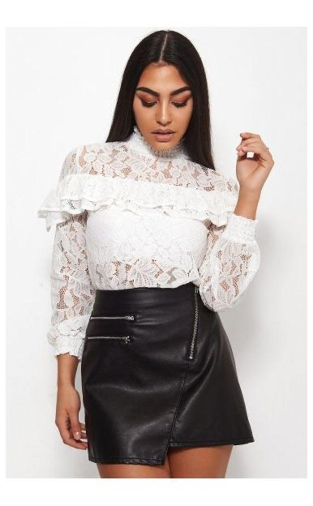Kelis White Lace Frill Blouse