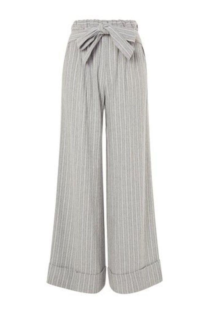 Womens Wide Leg Stripe Trousers - Grey, Grey