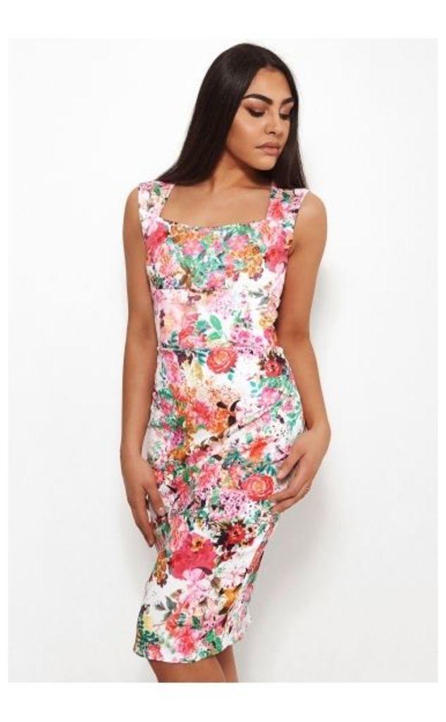 Biba Floral Bodycon Midi Dress