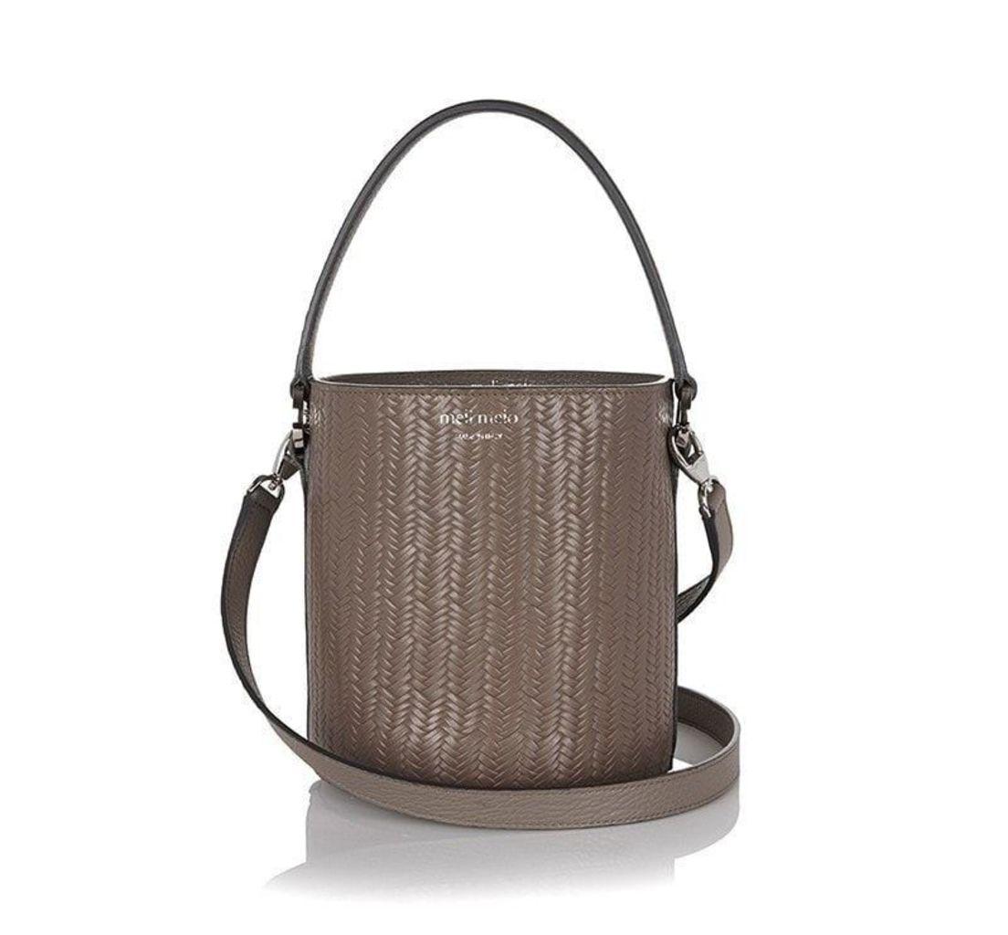 Santina Mini Bucket Bag Elephant Grey Woven