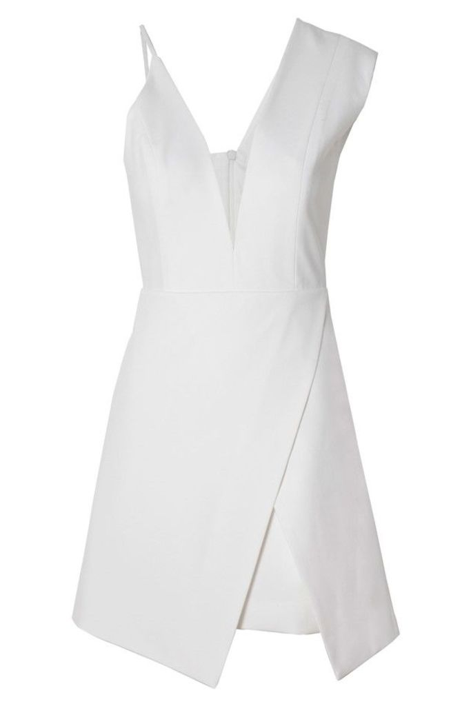 Asymmetrical Plunge Mini Dress Ivory