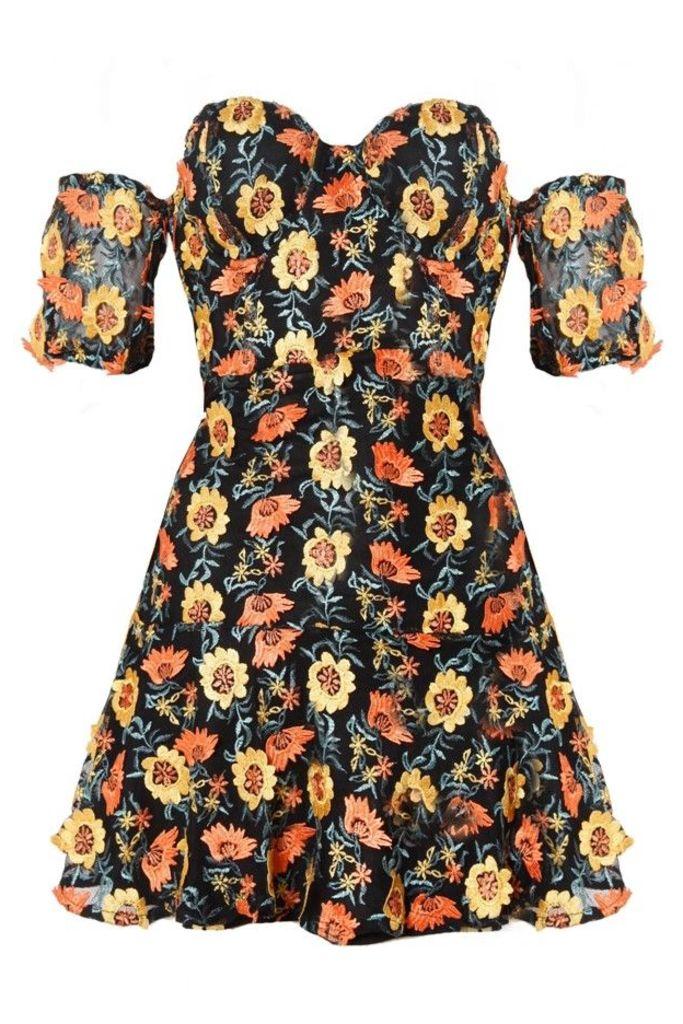 Amelia Strapless Mini Dress Sunflower