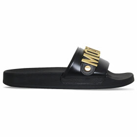 Moschino Logo leather pool slides, Women's, Size: EUR 36 / 3 UK WOMEN, Black
