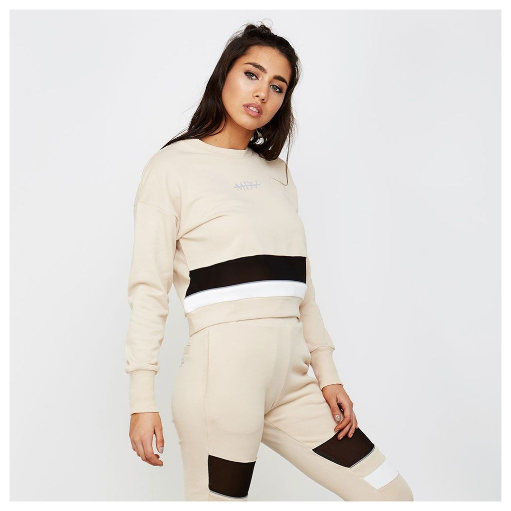 Mesh Panel Colour Block Jumper - Beige