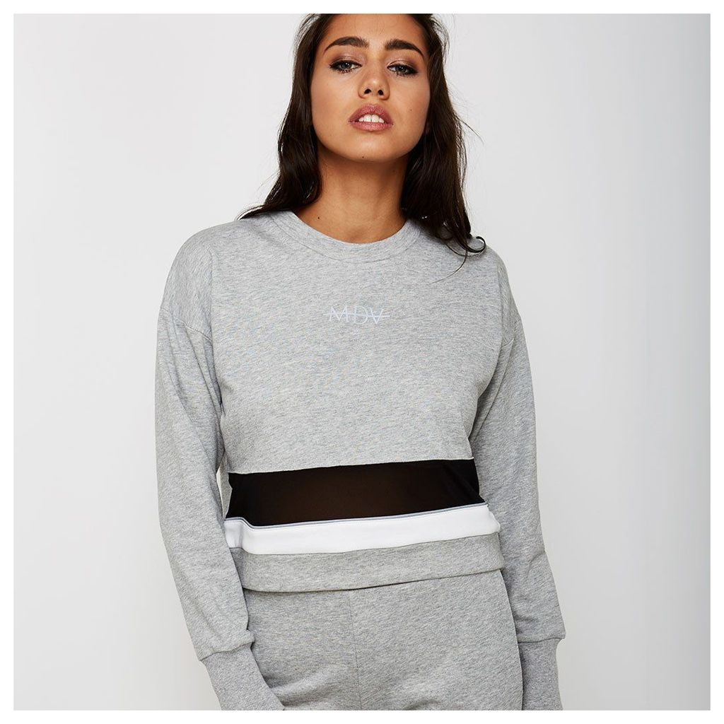 Mesh Panel Colour Block Jumper - Grey Marl