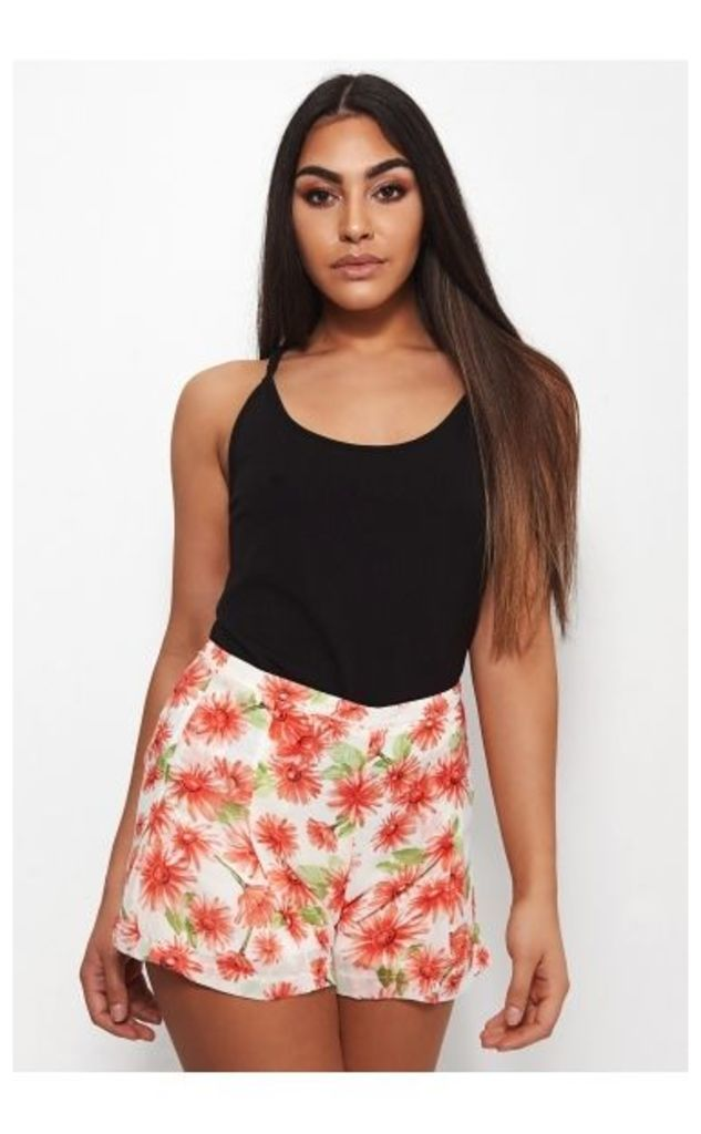 Daisy Red Floral High Waisted Pleated Shorts