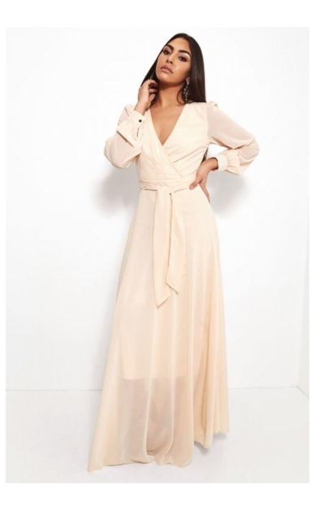 Bella Cream Chiffon Maxi Dress