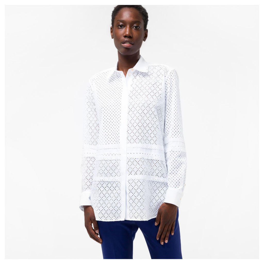 Women's White Broderie-Cotton Patchwork Shirt