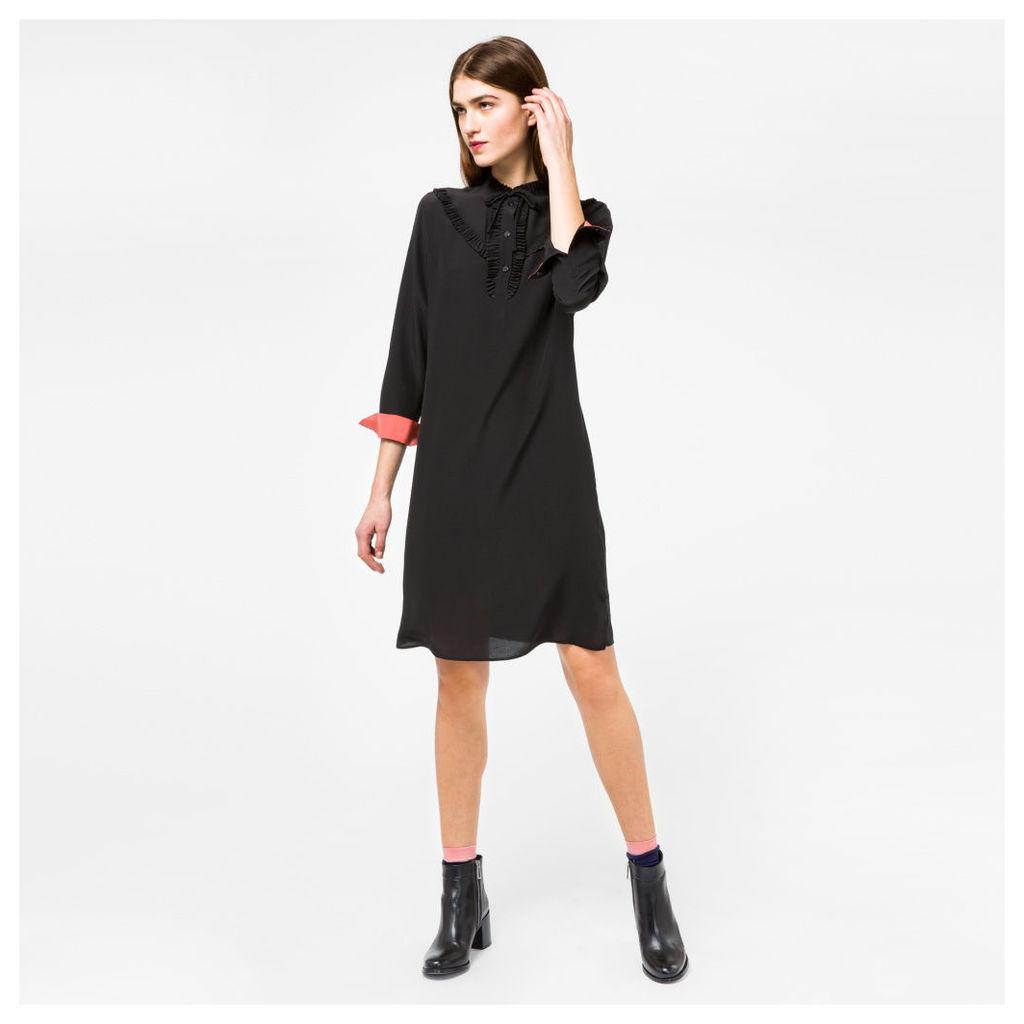 Women's Black Silk Dress With Frill Detailing