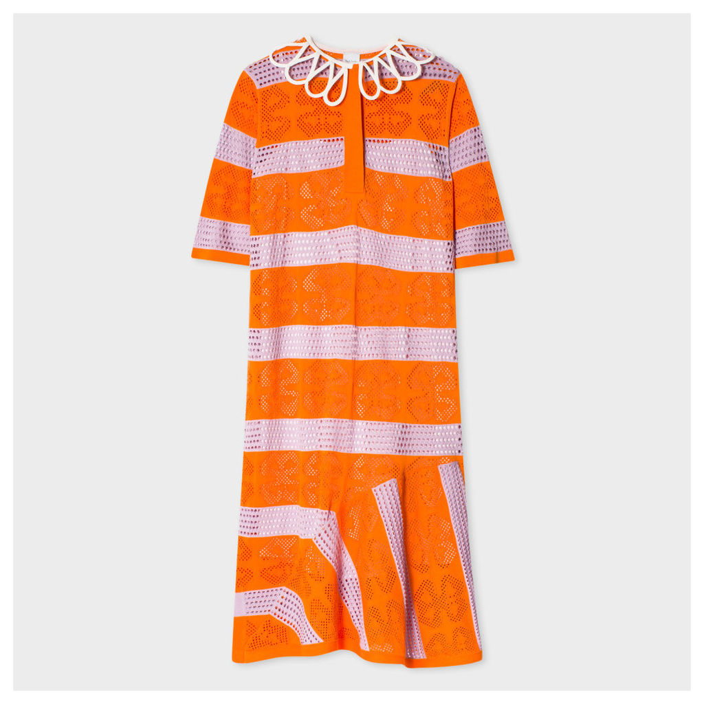 Women's Orange And Violet Striped Dress With Lattice Collar