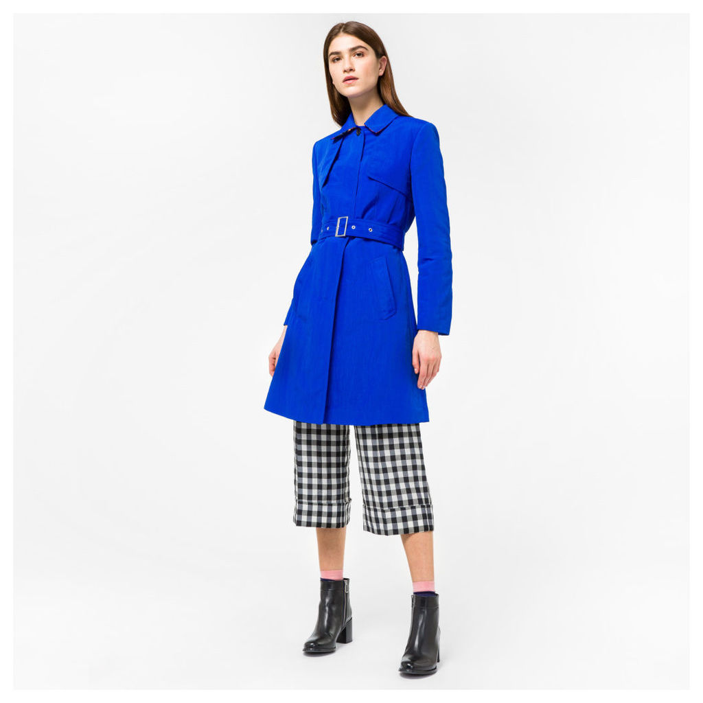Women's Cobalt Blue Cotton-Blend Trench Coat