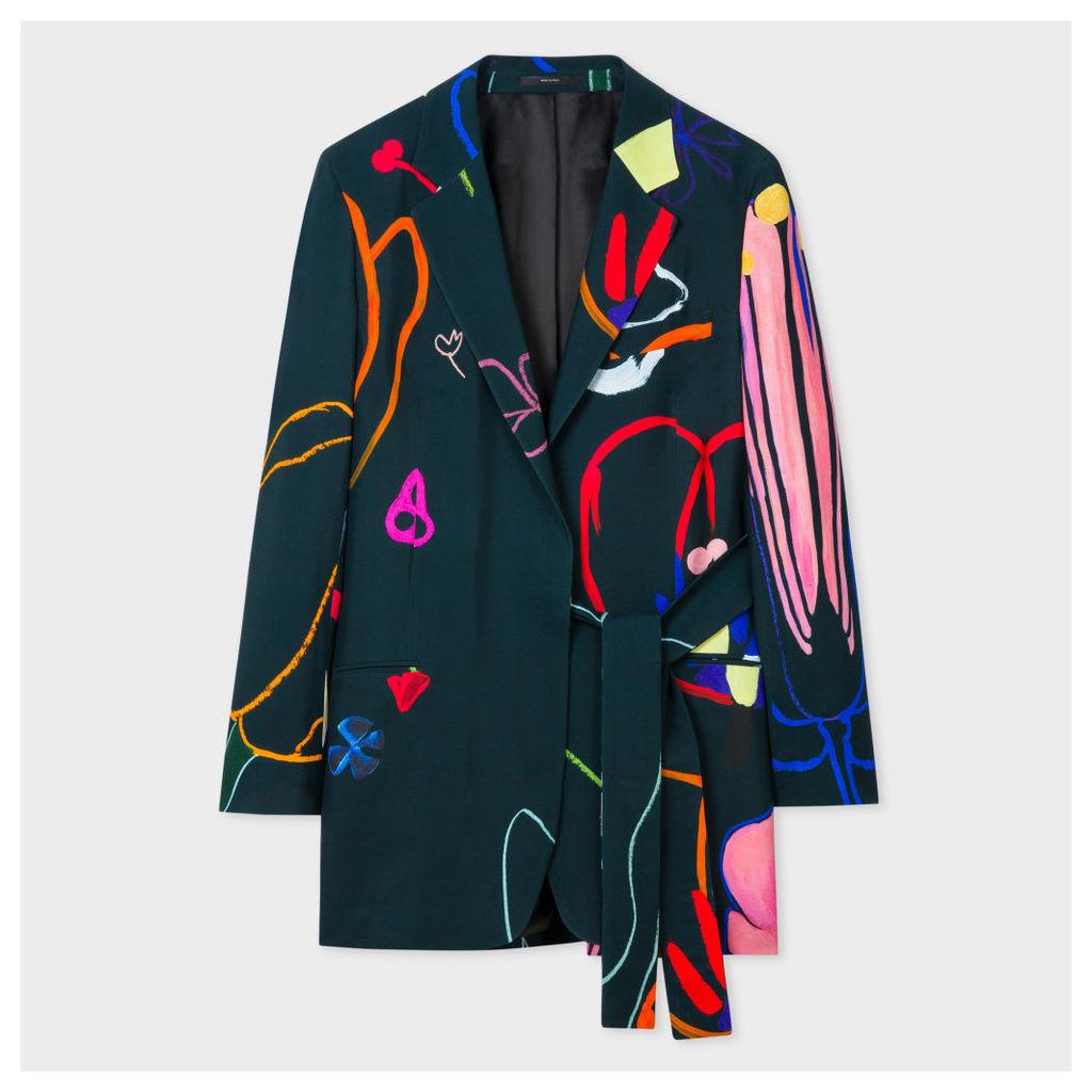 Women's 'Crayon Floral' One-Button Blazer With Belt